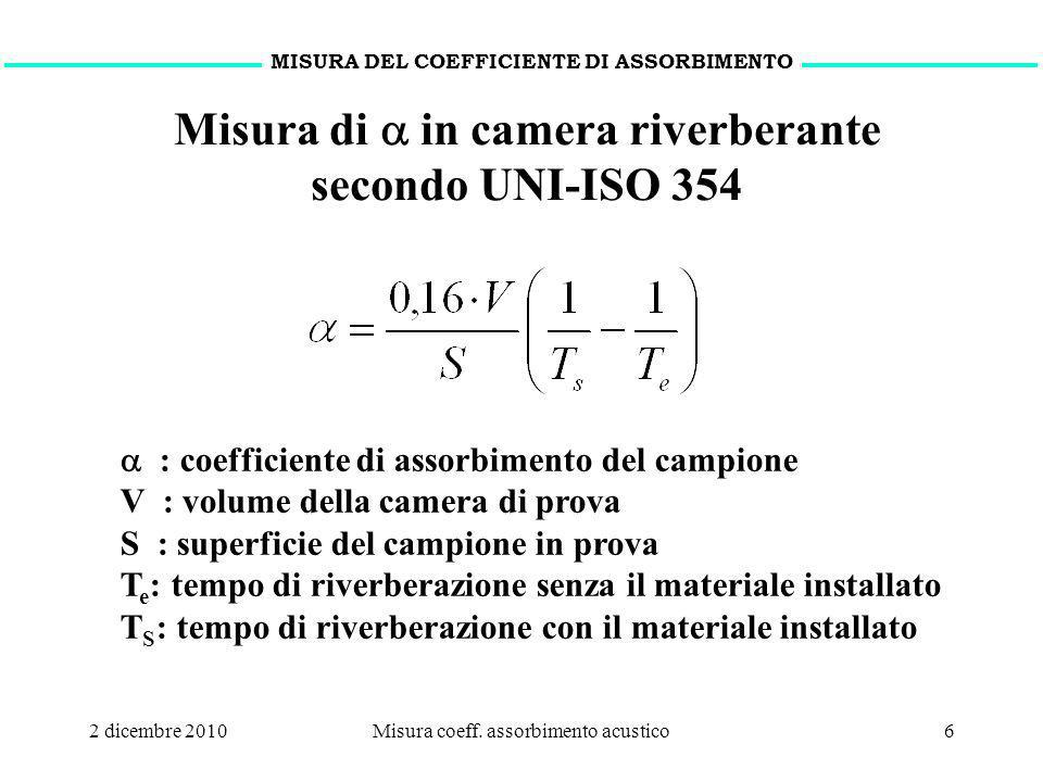 2 dicembre 2010Misura coeff. assorbimento acustico6 MISURA DEL COEFFICIENTE DI ASSORBIMENTO Misura di in camera riverberante secondo UNI-ISO 354 : coe