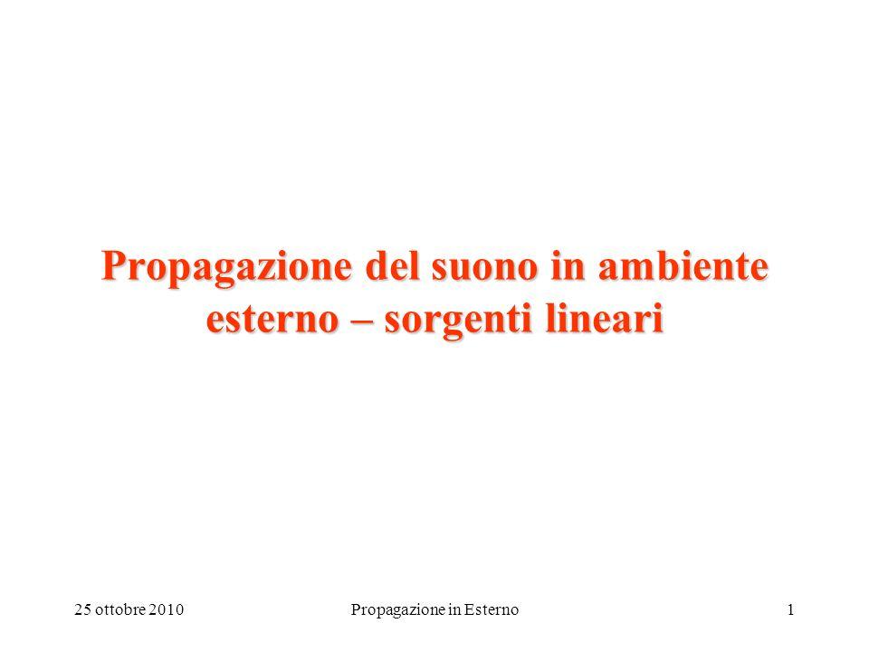 25 ottobre 2010Propagazione in Esterno1 Propagazione del suono in ambiente esterno – sorgenti lineari