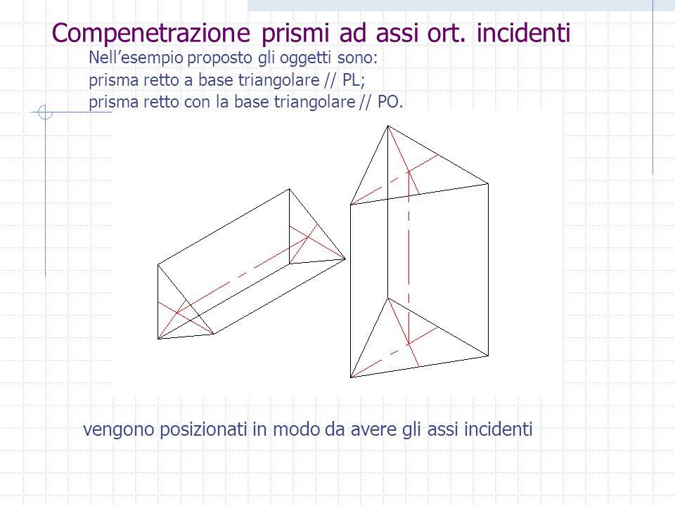 Compenetrazione prismi ad assi ort. incidenti Nellesempio proposto gli oggetti sono: prisma retto a base triangolare // PL; prisma retto con la base t