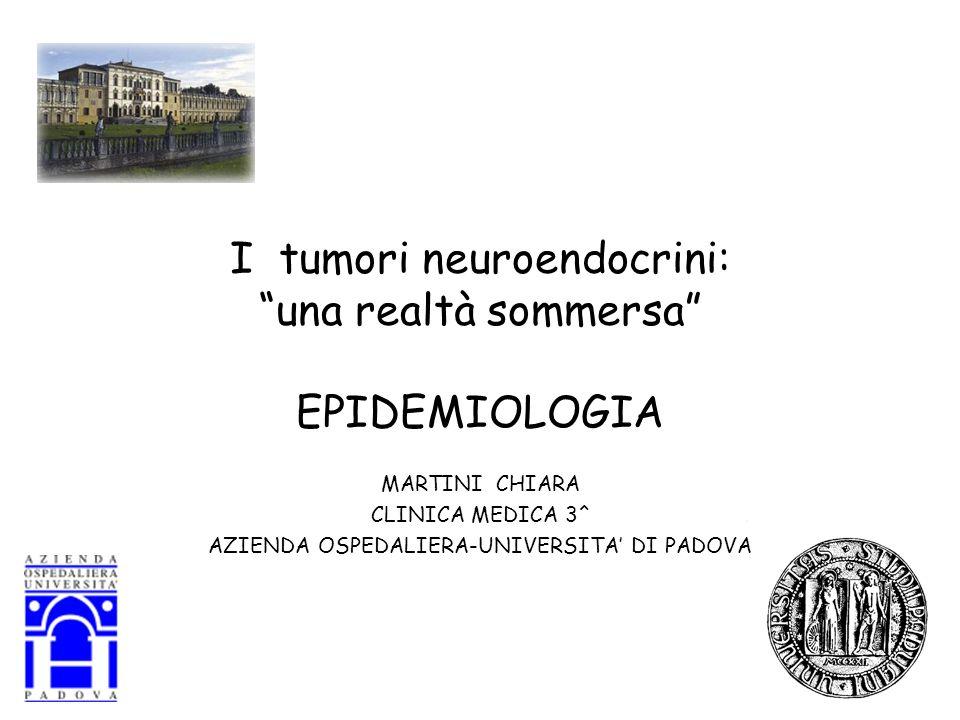 I tumori neuroendocrini:una realtà sommersa EPIDEMIOLOGIA MARTINI CHIARA CLINICA MEDICA 3^ AZIENDA OSPEDALIERA-UNIVERSITA DI PADOVA