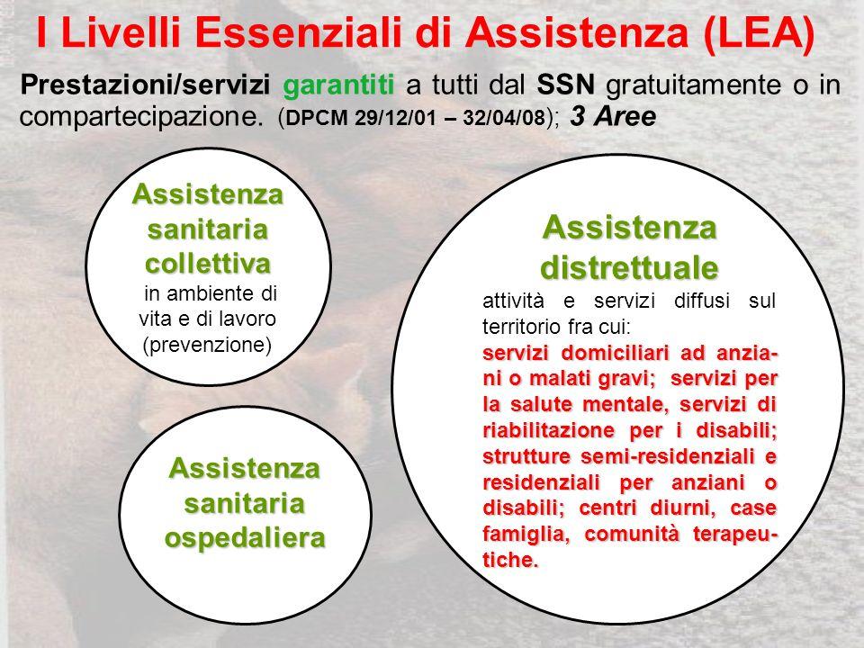 I Livelli Essenziali di Assistenza (LEA) garantiti Prestazioni/servizi garantiti a tutti dal SSN gratuitamente o in compartecipazione.