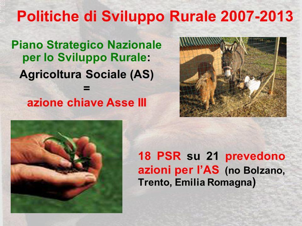 18 PSR su 21 prevedono azioni per lAS (no Bolzano, Trento, Emilia Romagna ) Piano Strategico Nazionale per lo Sviluppo Rurale: Agricoltura Sociale (AS) = azione chiave Asse III Politiche di Sviluppo Rurale 2007-2013