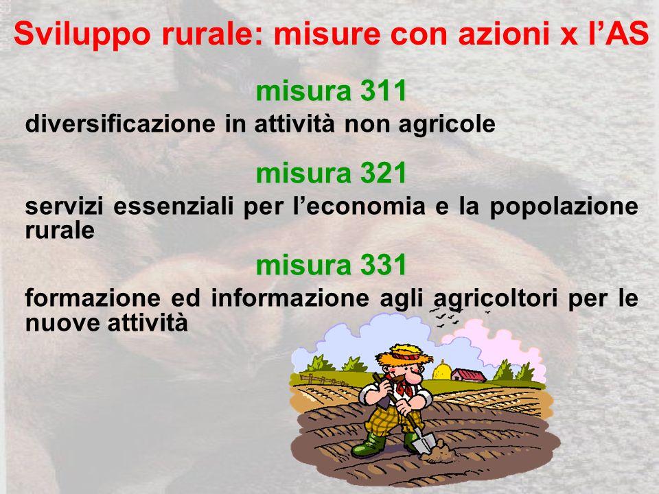 Sviluppo rurale: misure con azioni x lAS misura 311 diversificazione in attività non agricole misura 321 servizi essenziali per leconomia e la popolazione rurale misura 331 formazione ed informazione agli agricoltori per le nuove attività