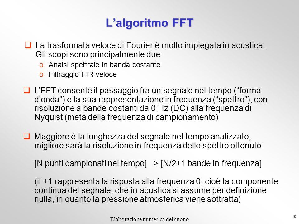 10 Elaborazione numerica del suono Lalgoritmo FFT La trasformata veloce di Fourier è molto impiegata in acustica. Gli scopi sono principalmente due: o