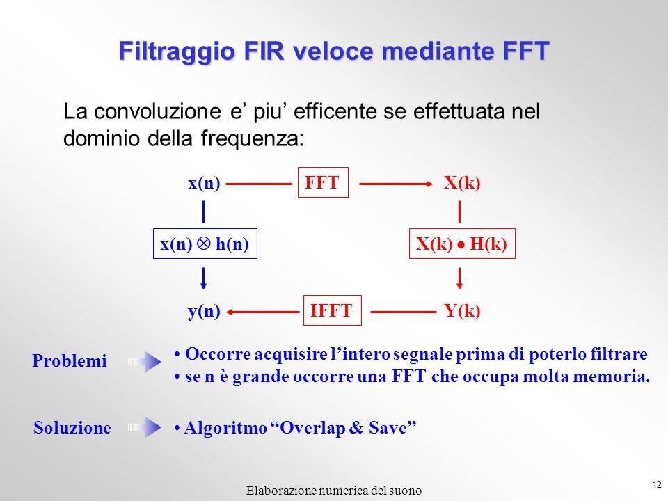 12 Elaborazione numerica del suono La convoluzione e piu efficente se effettuata nel dominio della frequenza: Problemi Occorre acquisire lintero segnale prima di poterlo filtrare se n è grande occorre una FFT che occupa molta memoria.