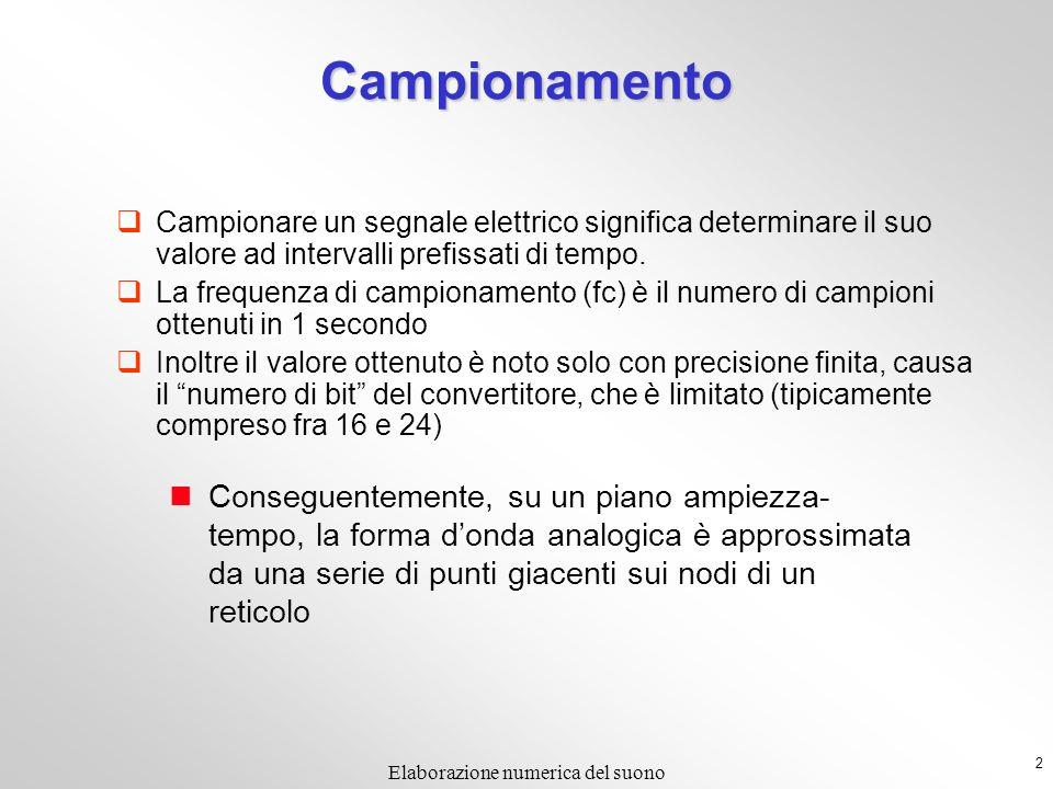 2 Campionamento Campionare un segnale elettrico significa determinare il suo valore ad intervalli prefissati di tempo. La frequenza di campionamento (