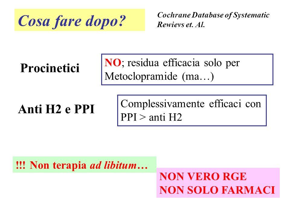 Cosa fare dopo? Procinetici Cochrane Database of Systematic Rewievs et. Al. NO; residua efficacia solo per Metoclopramide (ma…) Anti H2 e PPI Compless