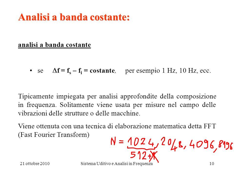 21 ottobre 2010Sistema Uditivo e Analisi in Frequenza10 Analisi a banda costante: analisi a banda costante se f = f s – f i = costante, per esempio 1