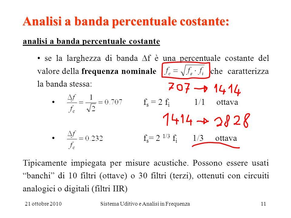 21 ottobre 2010Sistema Uditivo e Analisi in Frequenza11 Analisi a banda percentuale costante: analisi a banda percentuale costante se la larghezza di