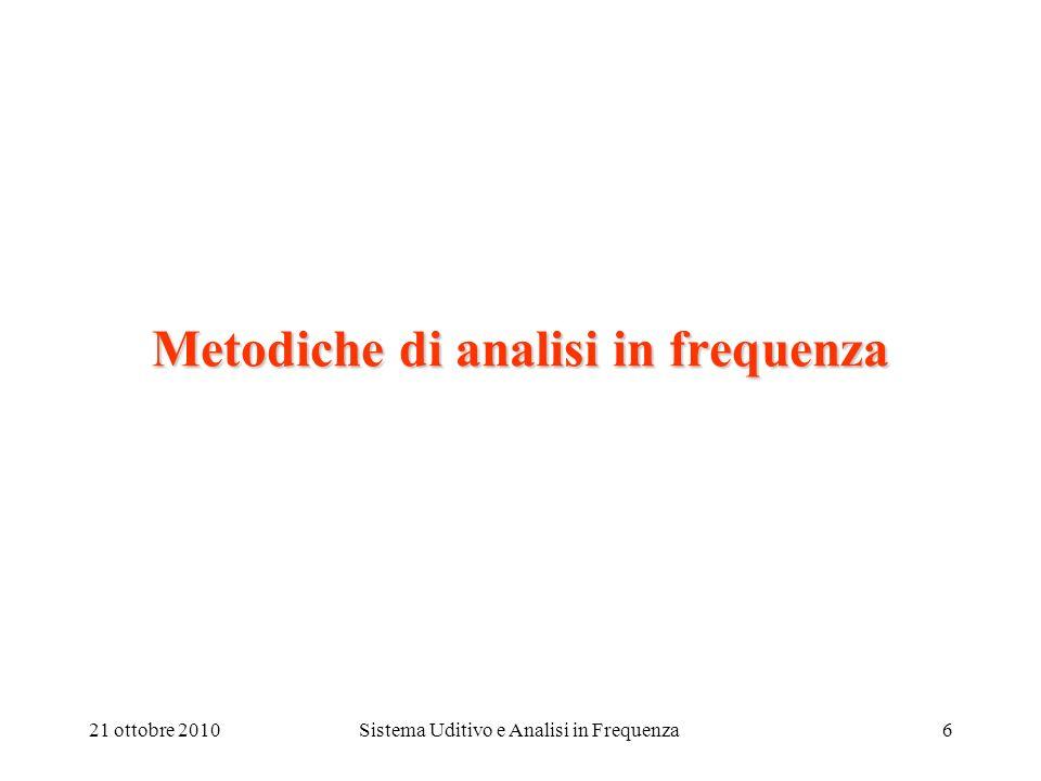 21 ottobre 2010Sistema Uditivo e Analisi in Frequenza7 Composizione & analisi in frequenza: Lo spettro di un segnale sonoro è la rappresentazione della sua composizione in frequenza su un diagramma energia-frequenza, o livello sonoro-frequenza.