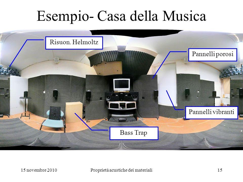 15 novembre 2010Proprietà acustiche dei materiali15 Esempio- Casa della Musica Pannelli porosi Bass Trap Risuon. Helmoltz Pannelli vibranti