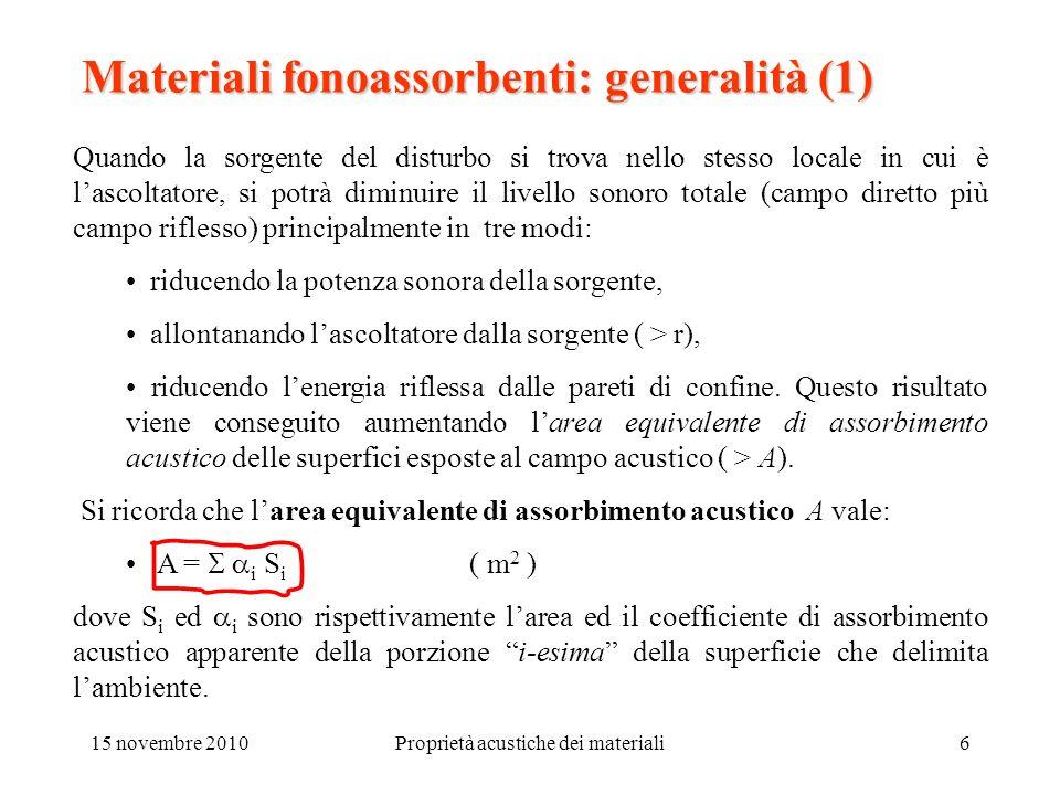 15 novembre 2010Proprietà acustiche dei materiali6 Materiali fonoassorbenti: generalità (1) Quando la sorgente del disturbo si trova nello stesso loca