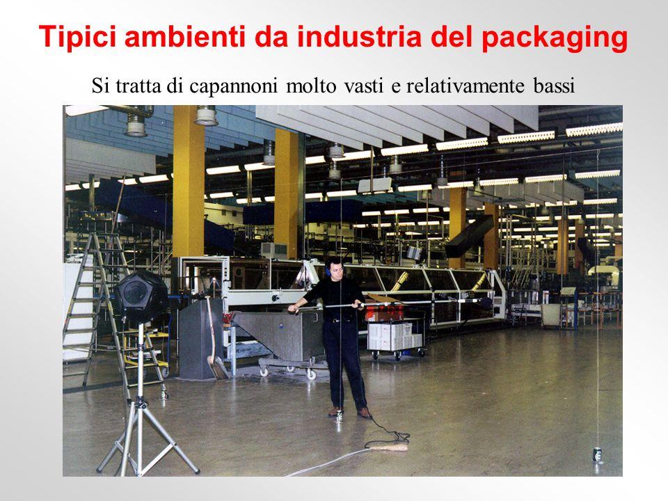 Si tratta di capannoni molto vasti e relativamente bassi Tipici ambienti da industria del packaging