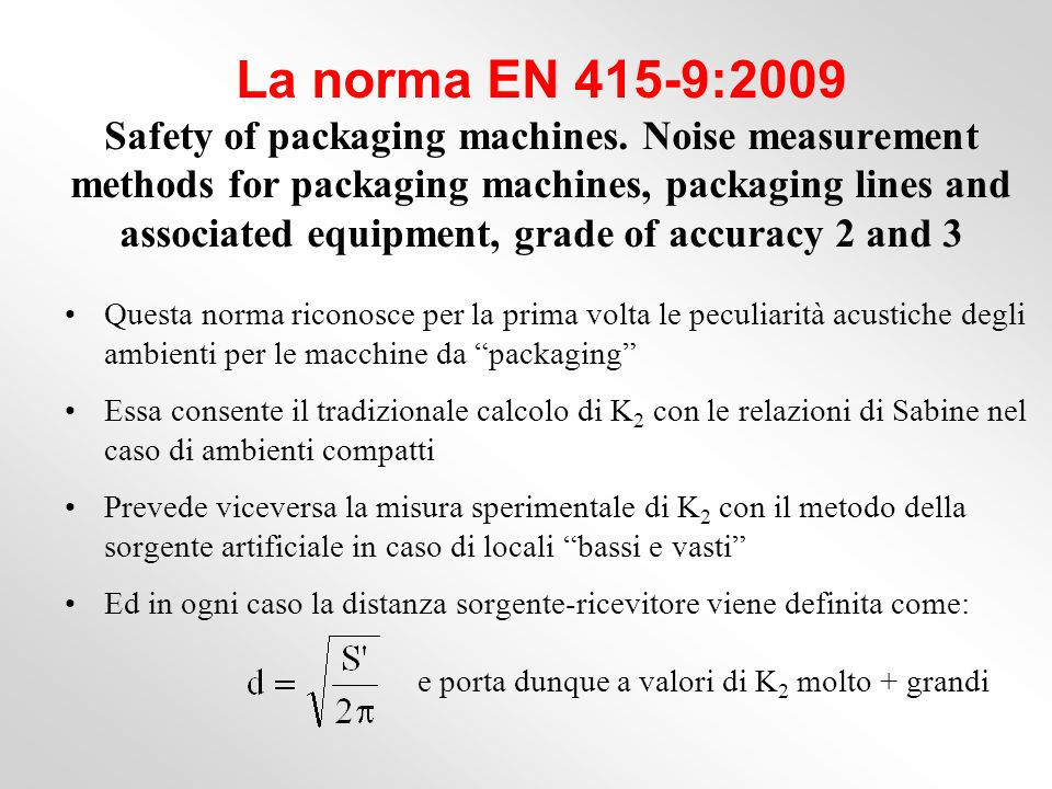 La norma EN 415-9:2009 Safety of packaging machines.