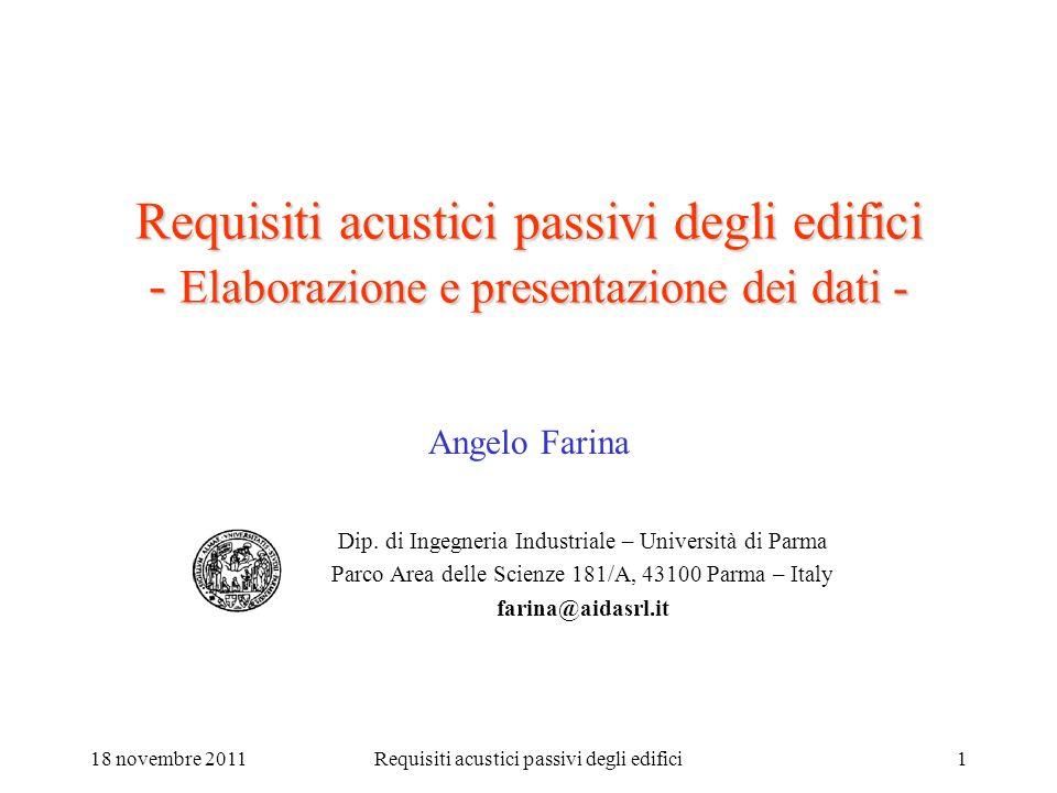 18 novembre 2011Requisiti acustici passivi degli edifici1 Requisiti acustici passivi degli edifici - Elaborazione e presentazione dei dati - Angelo Fa