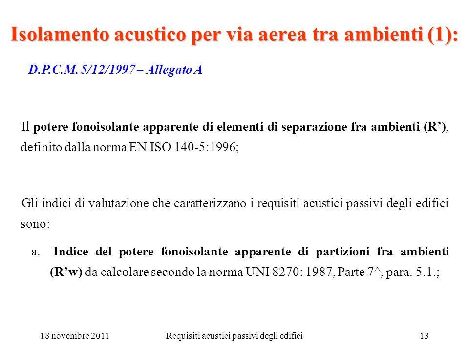 18 novembre 2011Requisiti acustici passivi degli edifici13 Isolamento acustico per via aerea tra ambienti (1): D.P.C.M. 5/12/1997 – Allegato A Il pote
