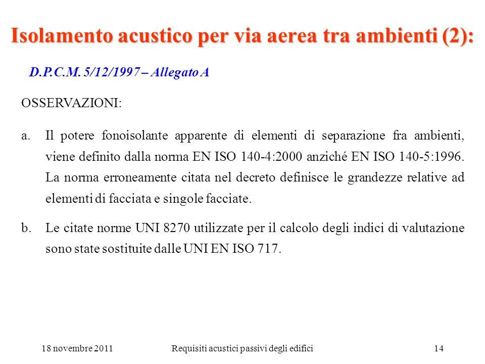 18 novembre 2011Requisiti acustici passivi degli edifici14 D.P.C.M. 5/12/1997 – Allegato A a.Il potere fonoisolante apparente di elementi di separazio