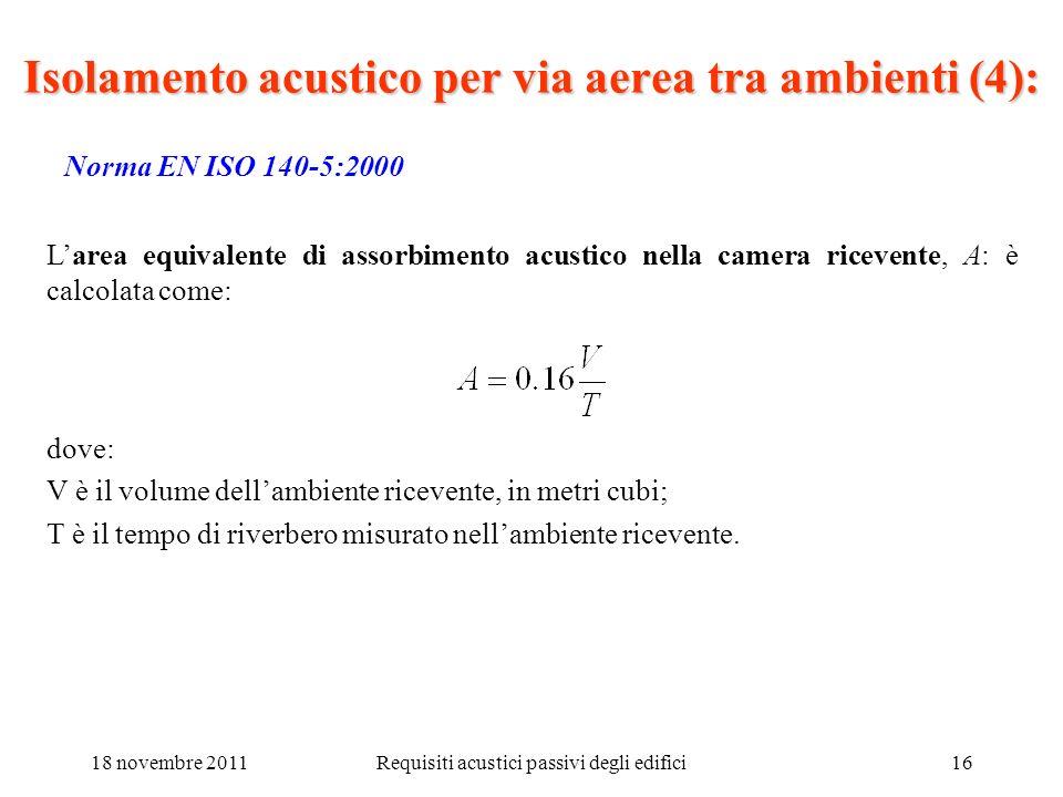 18 novembre 2011Requisiti acustici passivi degli edifici16 Norma EN ISO 140-5:2000 Larea equivalente di assorbimento acustico nella camera ricevente,
