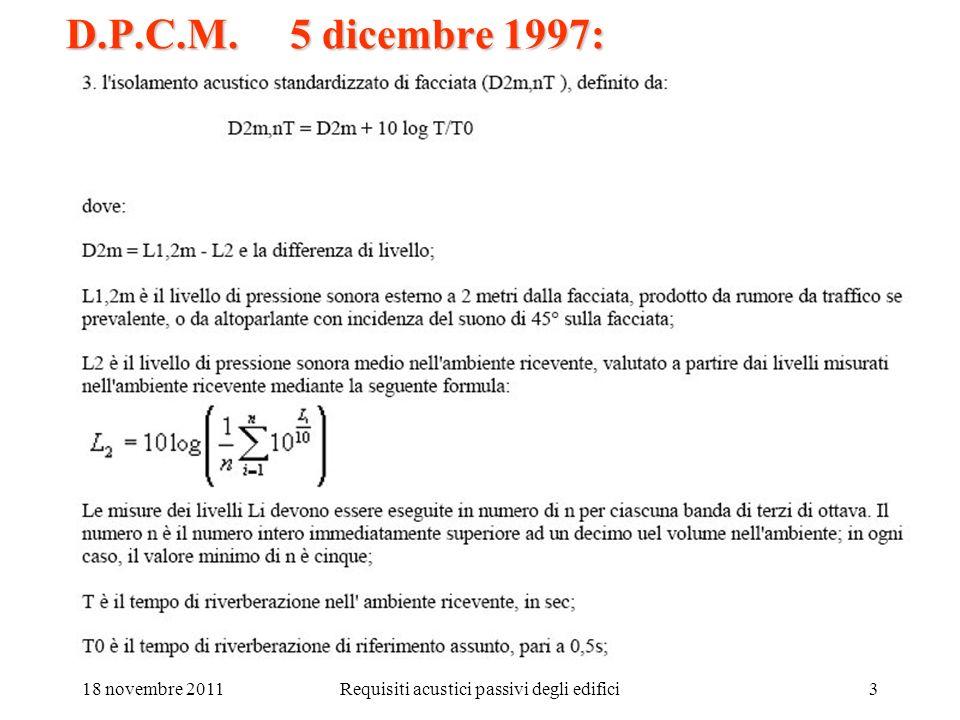 18 novembre 2011Requisiti acustici passivi degli edifici4 D.P.C.M. 5 dicembre 1997: