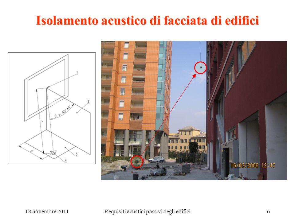 18 novembre 2011Requisiti acustici passivi degli edifici7 Isolamento acustico di facciata di edifici (1): D.P.C.M.