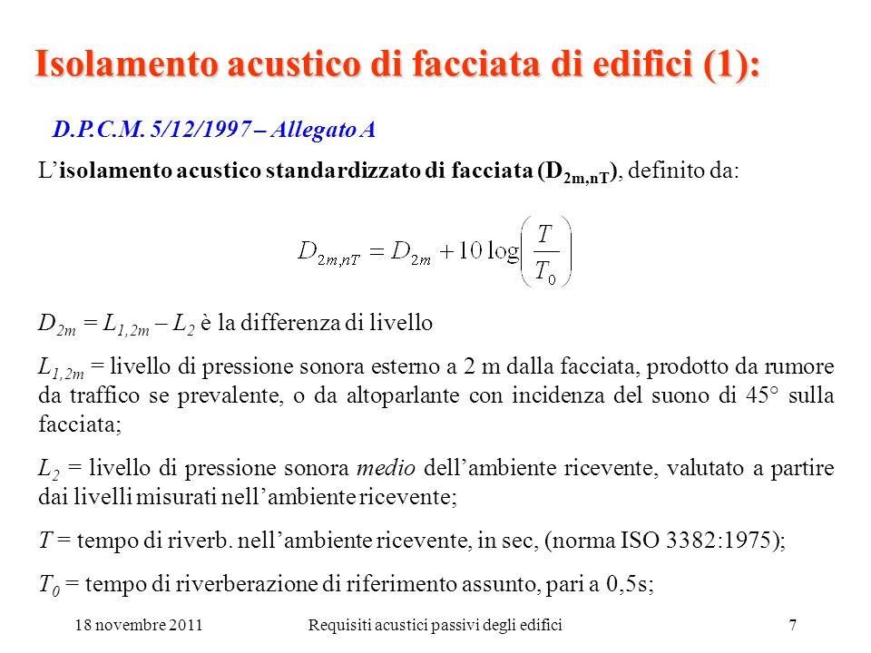 18 novembre 2011Requisiti acustici passivi degli edifici7 Isolamento acustico di facciata di edifici (1): D.P.C.M. 5/12/1997 – Allegato A Lisolamento