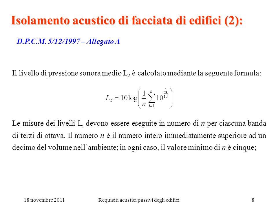 18 novembre 2011Requisiti acustici passivi degli edifici8 Isolamento acustico di facciata di edifici (2): D.P.C.M. 5/12/1997 – Allegato A Il livello d