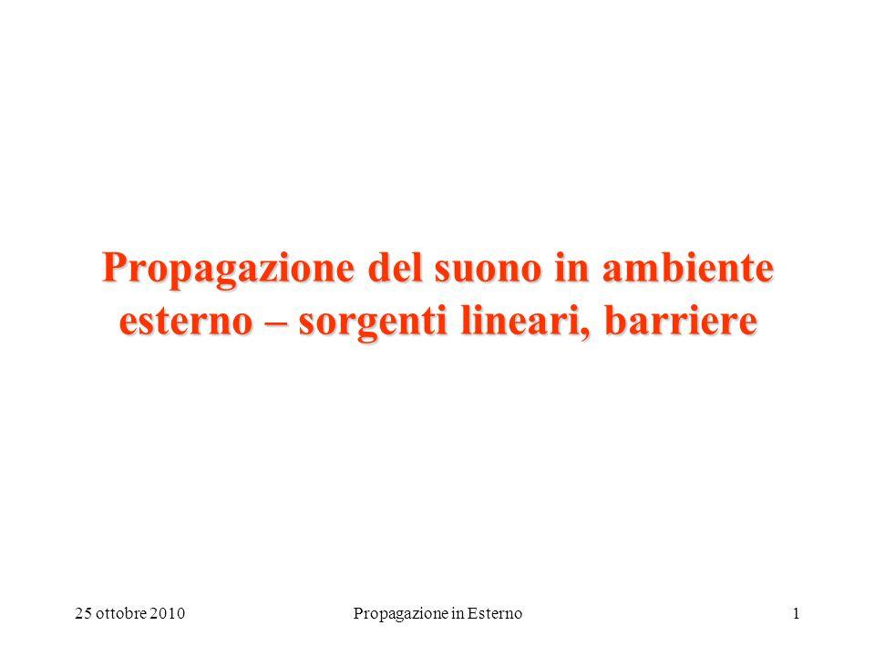 25 ottobre 2010Propagazione in Esterno1 Propagazione del suono in ambiente esterno – sorgenti lineari, barriere