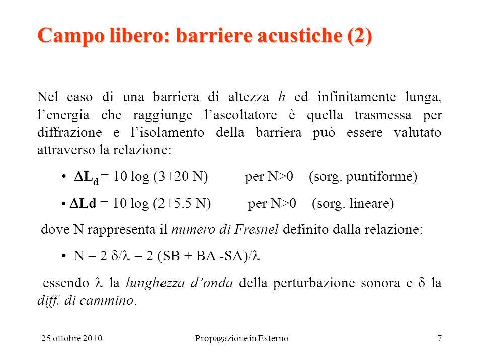 25 ottobre 2010Propagazione in Esterno8 Campo libero: barriere acustiche (3) Se la barriera presenta una lunghezza finita, occorre considerare anche la diffrazione attraverso i bordi laterali della barriera (N1, N2) e si scriverà: L = L d - 10 log (1 + N/N 1 + N/N 2 ) (dB) valida per valori di N, N 1, N 2 > 1.