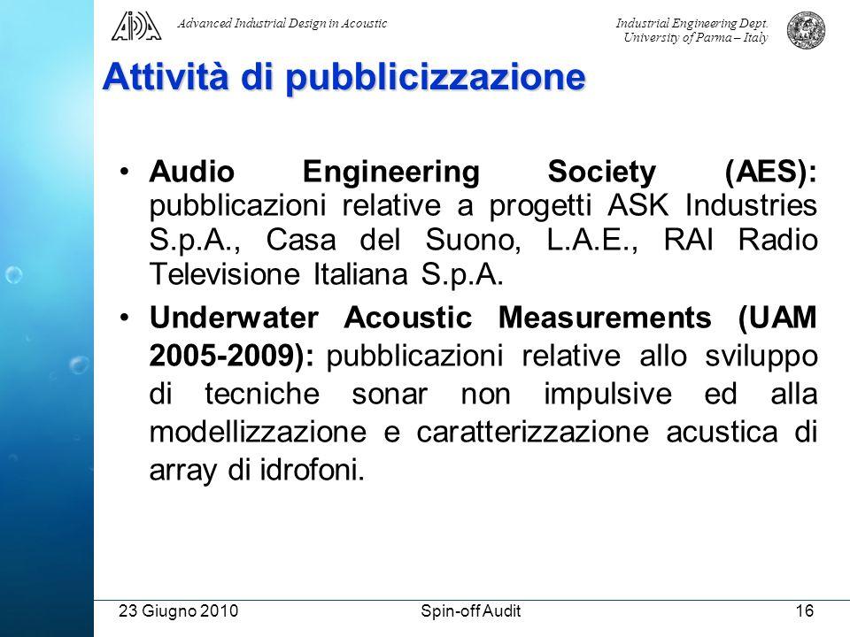 Industrial Engineering Dept. University of Parma – Italy Advanced Industrial Design in Acoustic 23 Giugno 2010Spin-off Audit16 Attività di pubblicizza