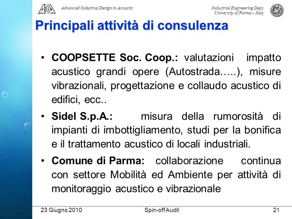 Industrial Engineering Dept. University of Parma – Italy Advanced Industrial Design in Acoustic 23 Giugno 2010Spin-off Audit21 Principali attività di
