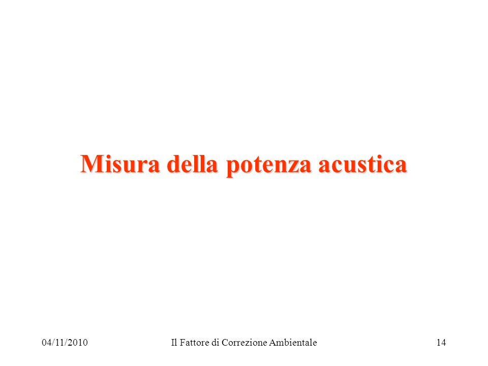 04/11/2010Il Fattore di Correzione Ambientale14 Misura della potenza acustica