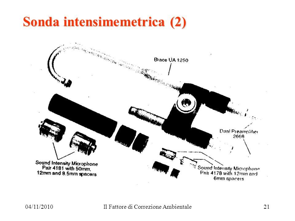 04/11/2010Il Fattore di Correzione Ambientale21 Sonda intensimemetrica (2)
