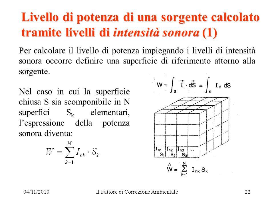 04/11/2010Il Fattore di Correzione Ambientale22 Livello di potenza di una sorgente calcolato tramite livelli di intensità sonora (1) Per calcolare il