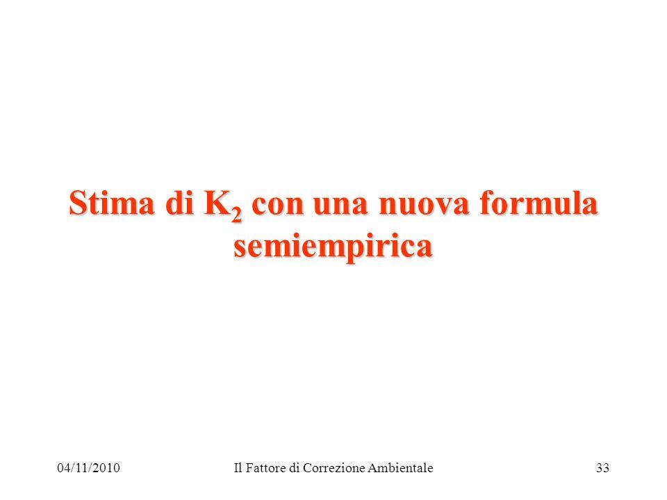 04/11/2010Il Fattore di Correzione Ambientale33 Stima di K 2 con una nuova formula semiempirica