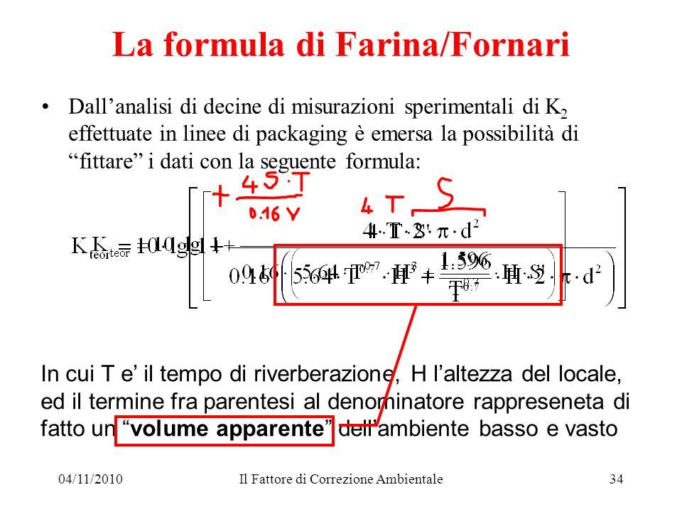 04/11/2010Il Fattore di Correzione Ambientale34 La formula di Farina/Fornari Dallanalisi di decine di misurazioni sperimentali di K 2 effettuate in li