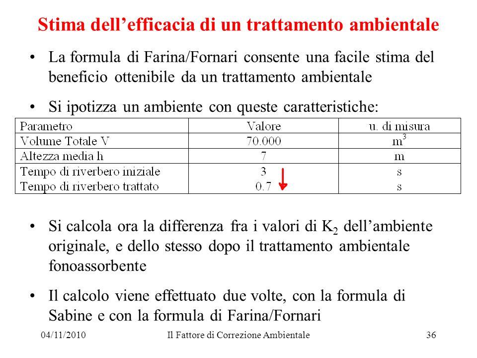04/11/2010Il Fattore di Correzione Ambientale36 Stima dellefficacia di un trattamento ambientale La formula di Farina/Fornari consente una facile stim