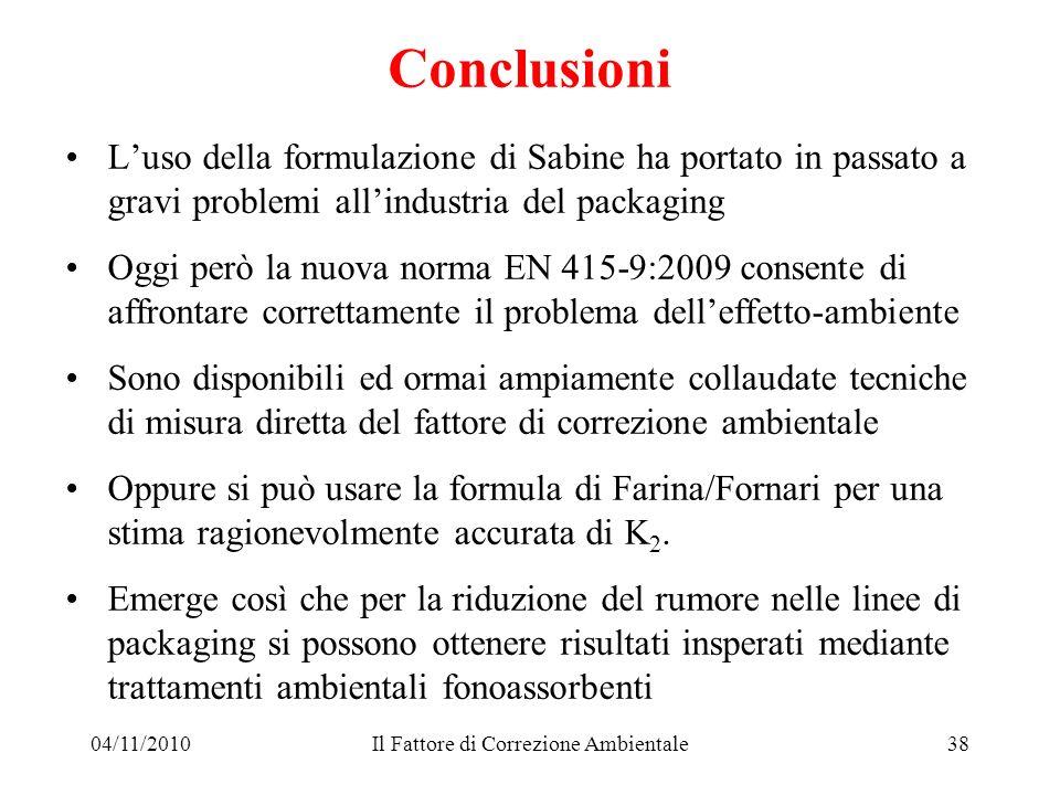 04/11/2010Il Fattore di Correzione Ambientale38 Conclusioni Luso della formulazione di Sabine ha portato in passato a gravi problemi allindustria del