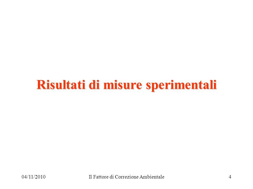04/11/2010Il Fattore di Correzione Ambientale4 Risultati di misure sperimentali