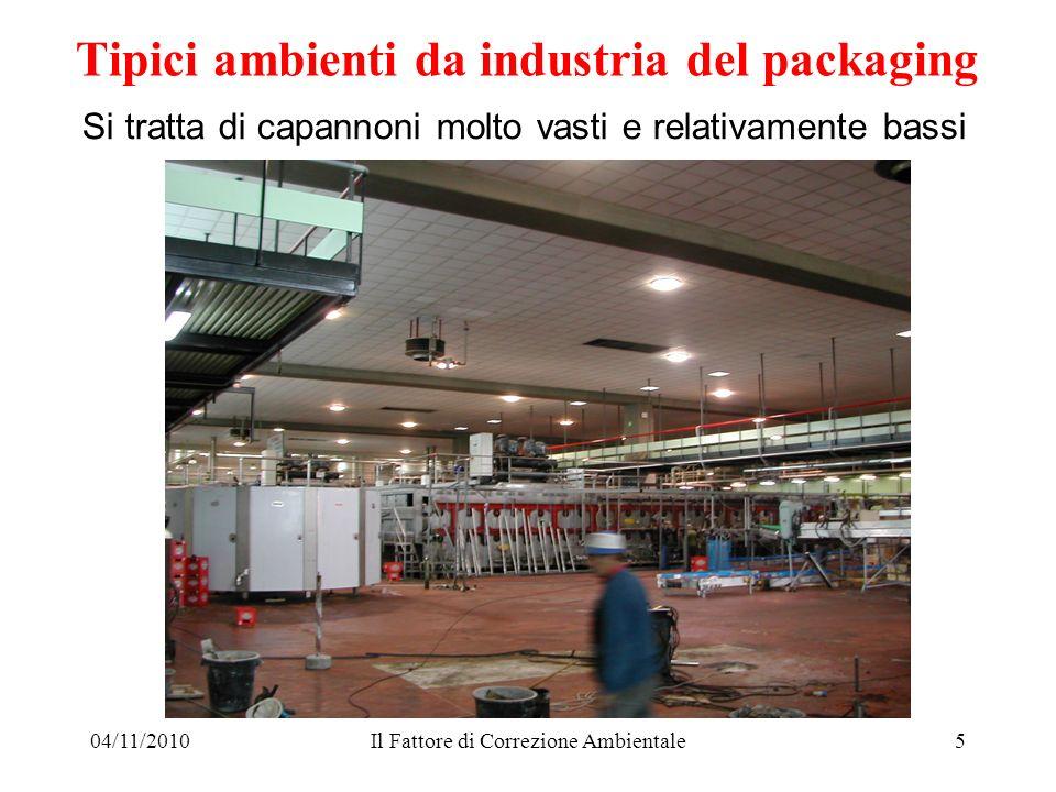04/11/2010Il Fattore di Correzione Ambientale5 Si tratta di capannoni molto vasti e relativamente bassi Tipici ambienti da industria del packaging