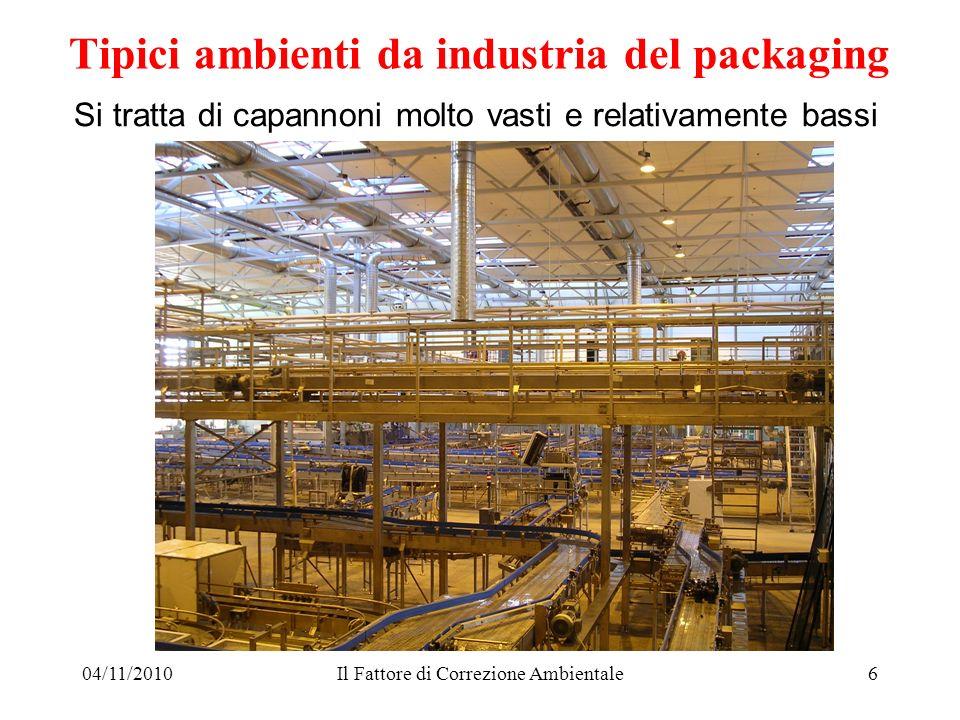 04/11/2010Il Fattore di Correzione Ambientale6 Si tratta di capannoni molto vasti e relativamente bassi Tipici ambienti da industria del packaging