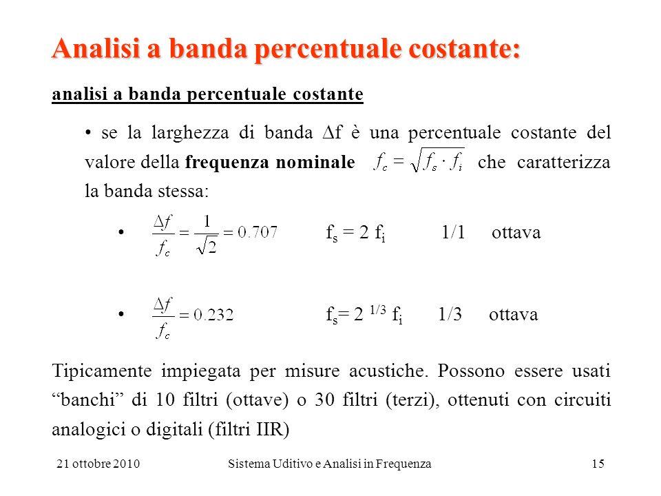 21 ottobre 2010Sistema Uditivo e Analisi in Frequenza15 Analisi a banda percentuale costante: analisi a banda percentuale costante se la larghezza di