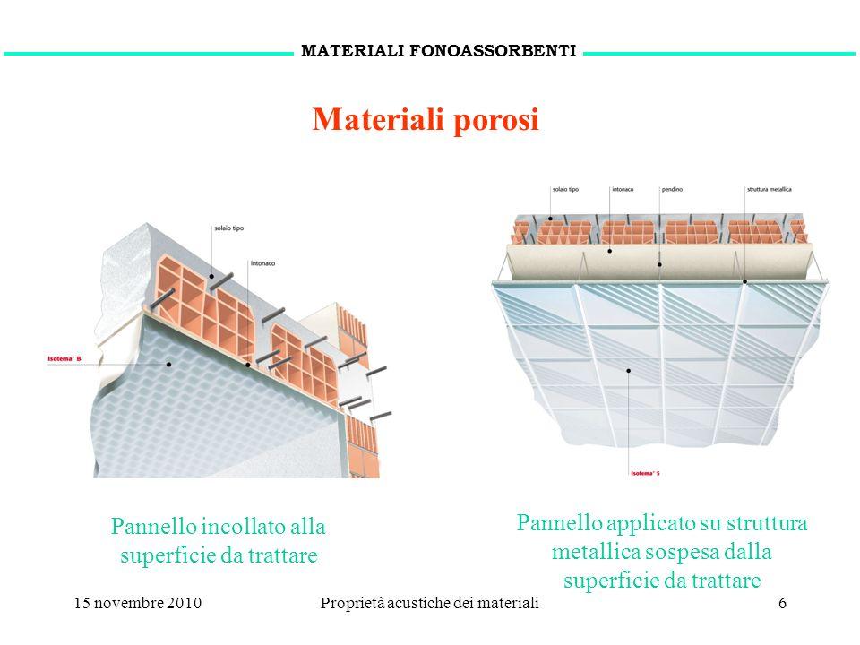 15 novembre 2010Proprietà acustiche dei materiali6 Pannello incollato alla superficie da trattare Pannello applicato su struttura metallica sospesa da
