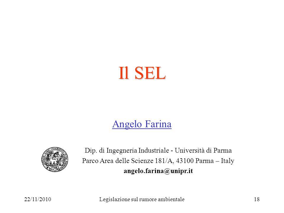 22/11/2010Legislazione sul rumore ambientale18 Il SEL Angelo Farina Dip. di Ingegneria Industriale - Università di Parma Parco Area delle Scienze 181/