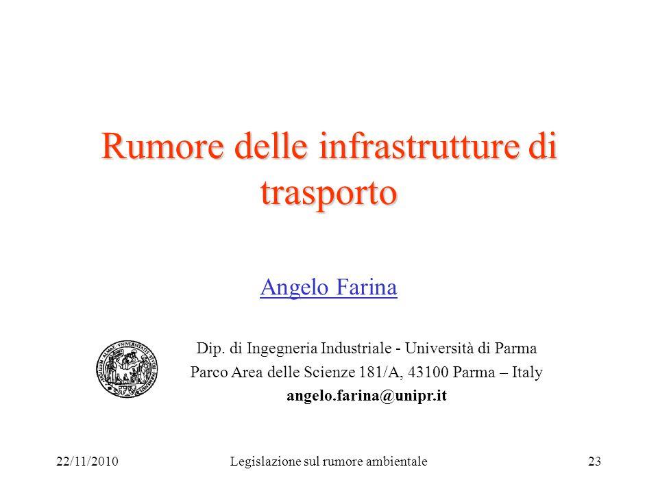 22/11/2010Legislazione sul rumore ambientale23 Rumore delle infrastrutture di trasporto Angelo Farina Dip. di Ingegneria Industriale - Università di P