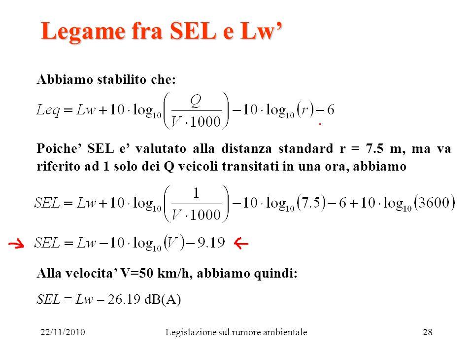 22/11/2010Legislazione sul rumore ambientale28 Legame fra SEL e Lw Abbiamo stabilito che: Poiche SEL e valutato alla distanza standard r = 7.5 m, ma v