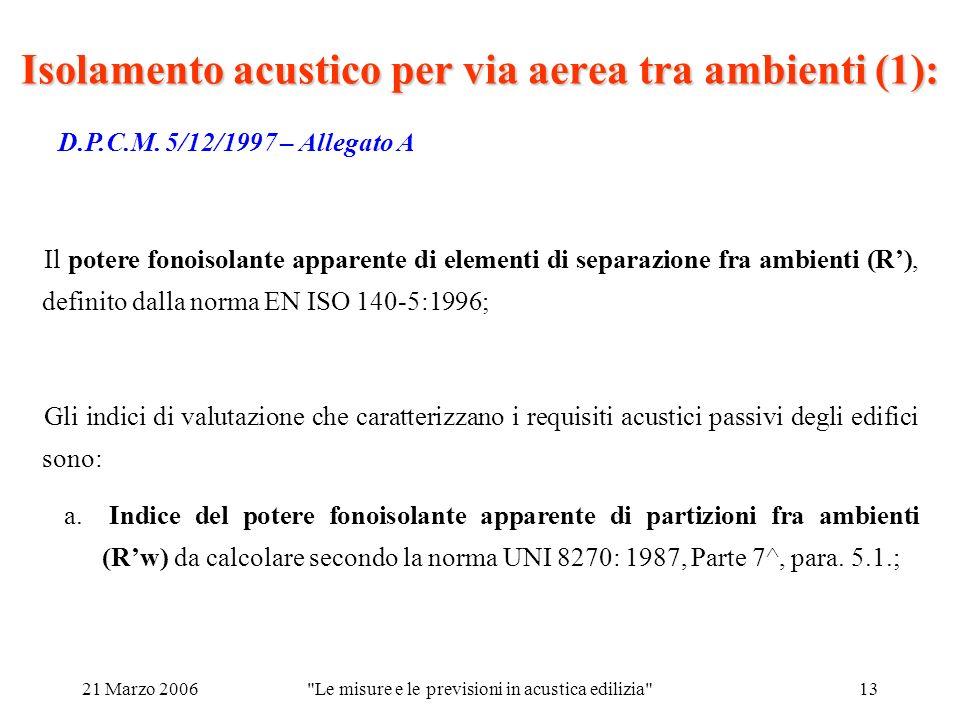 21 Marzo 2006 Le misure e le previsioni in acustica edilizia 13 Isolamento acustico per via aerea tra ambienti (1): D.P.C.M.