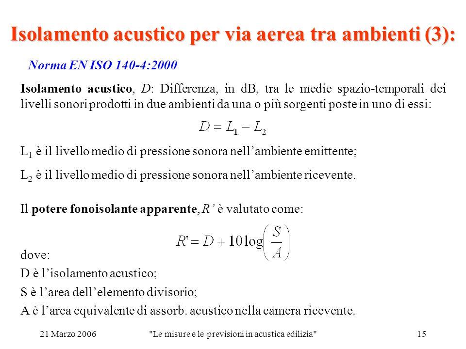 21 Marzo 2006 Le misure e le previsioni in acustica edilizia 15 Norma EN ISO 140-4:2000 Isolamento acustico per via aerea tra ambienti (3): Isolamento acustico, D: Differenza, in dB, tra le medie spazio-temporali dei livelli sonori prodotti in due ambienti da una o più sorgenti poste in uno di essi: Il potere fonoisolante apparente, R è valutato come: dove: D è lisolamento acustico; S è larea dellelemento divisorio; A è larea equivalente di assorb.