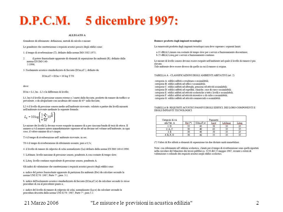 21 Marzo 2006 Le misure e le previsioni in acustica edilizia 2 D.P.C.M. 5 dicembre 1997: