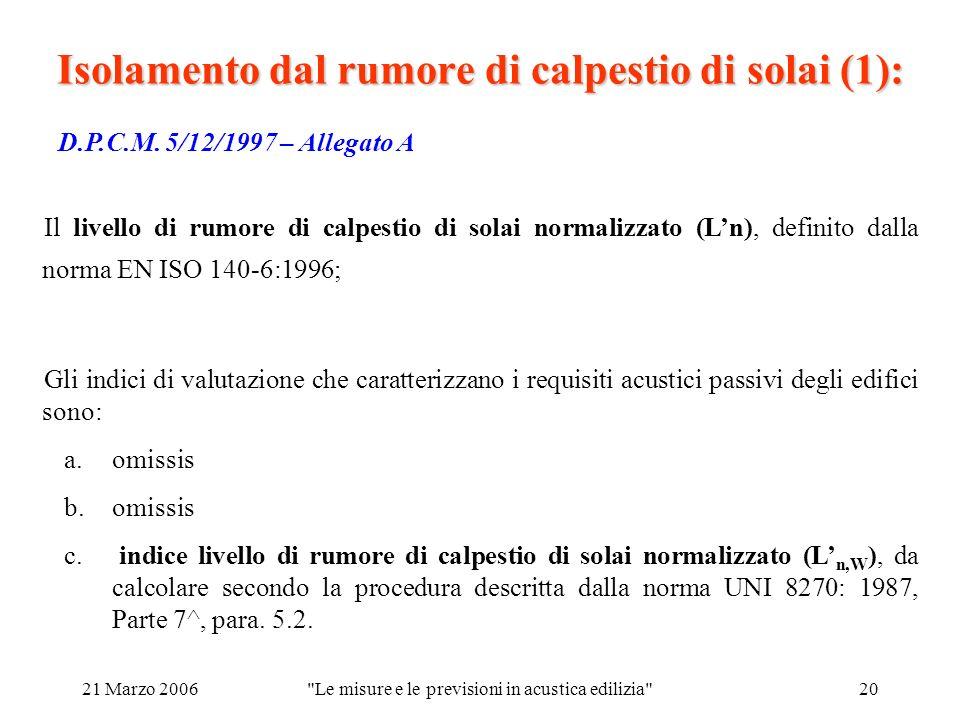 21 Marzo 2006 Le misure e le previsioni in acustica edilizia 20 Isolamento dal rumore di calpestio di solai (1): D.P.C.M.