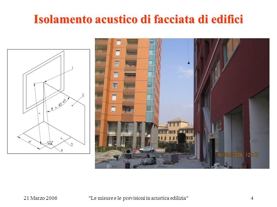 21 Marzo 2006 Le misure e le previsioni in acustica edilizia 4 Isolamento acustico di facciata di edifici